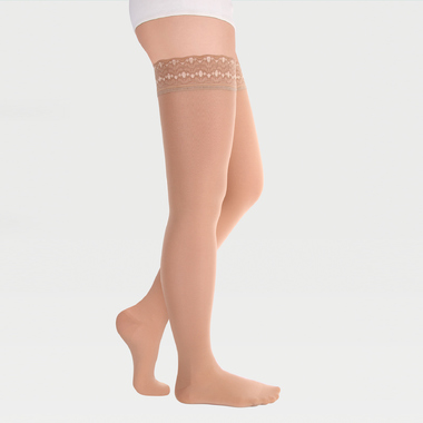 Closed-toe stockings with simple silicone-based lace band ID-301