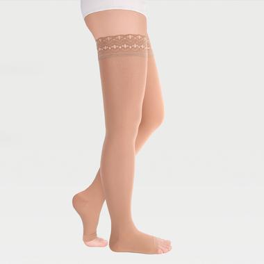 Чулки с ажурной резинкой на силиконовой основе с открытым носком на широкое бедро ID-311W