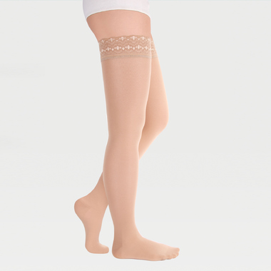 Transparent translucent closed-toe stockings with simple silicone-based lace band ID-301T